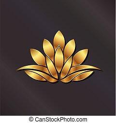 Luxury Gold Lotus plant logo