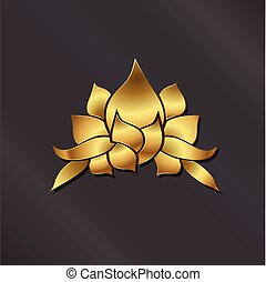 Luxury Gold Lotus plant logo