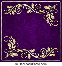 Luxury gold pattern frame on a beautiful violet background
