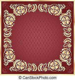 Luxury gold pattern frame on claret background. Square