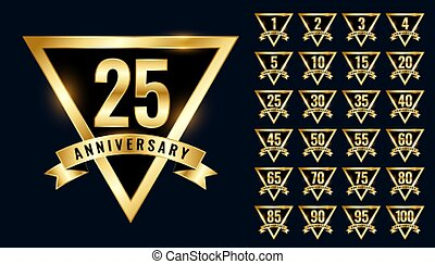 luxury golden anniversay labels and emblem logotype set