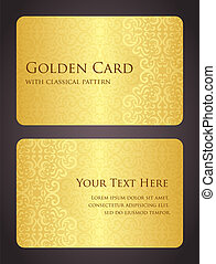 Luxury golden card with vintage pattern