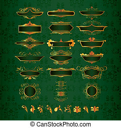 Luxury golden decor elements in vector