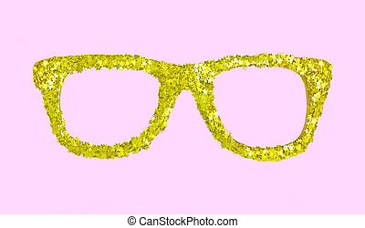 Luxury golden glasses with stars from confetti on pink background.