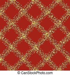 Luxury Golden Glitter Diagonal Check Seamless Pattern