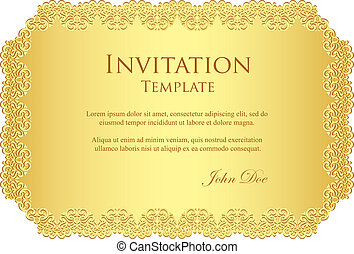 Exclusive golden invitation template with lace border
