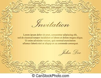 Luxury golden invitation with vintage floral pattern