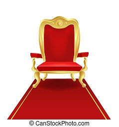 Luxury golden king throne chair with red royal carpet vector graphic illustration