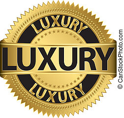 Luxury golden label, vector illustr