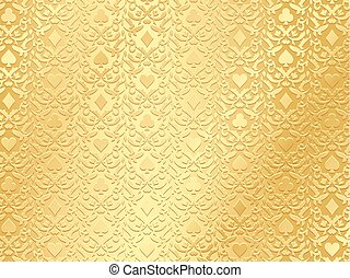 Exclusive golden poker background with card symbols