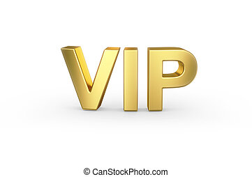 luxury golden VIP icon on white - Very important person -...