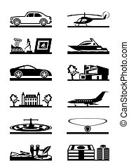 Luxury goods vehicles and property - vector illustration