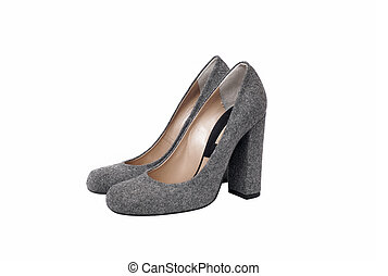 Luxury gray female leather heeled shoes isolated on white background