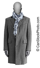 Luxury gray male coat with scarf isolated on white background