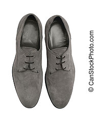 Luxury gray suede shoes isolated om white background