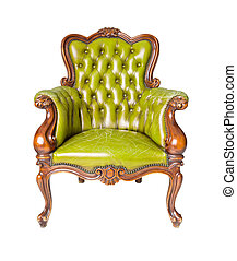 luxury green leather armchair isolated