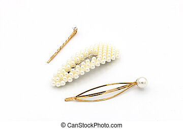 Luxury hair clips on white isolated background.