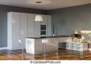 Luxury Hi-Tech Kitchen (Grey) - Luxury Hi-Tech Kitchen With...
