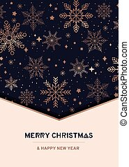 Luxury holiday greeting card design with rose gold linear snowflakes