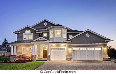 Luxury Home Exterior at Twilight - Beautiful New England...