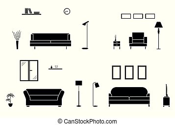 Luxury home interior black and white set