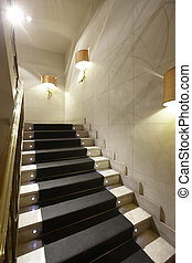 Luxury home interior with marble stairs