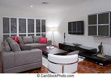 luxury home living room interior - modern living room...