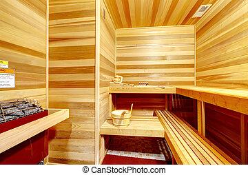 Luxury home sauna room interior.