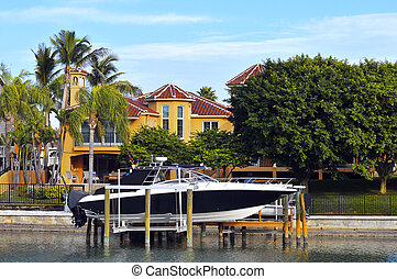 Luxury home with boats