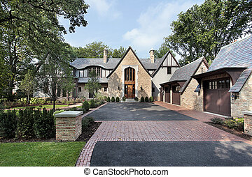Luxury home with four car garage