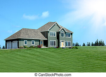 Luxury home with landscaped front yard in Summer