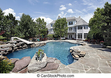 Luxury home with swimming pool - Rear view of luxury home ...