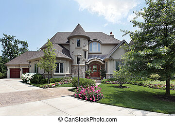 Luxury home in suburbs with front turret