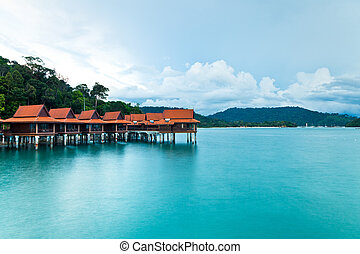 Luxury hotel bungalows on water, Langkawi Island, Malaysia