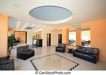Luxury Hotel lobby reception area in Greece