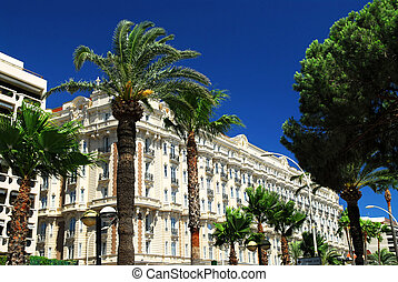 Croisette promenade in Cannes - Luxury hotel on Croisette...