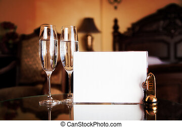 Luxury interior - hotel room with elegant service. Blank white card for your text