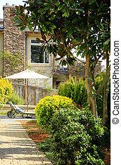 Luxury house exterior. Backyard view