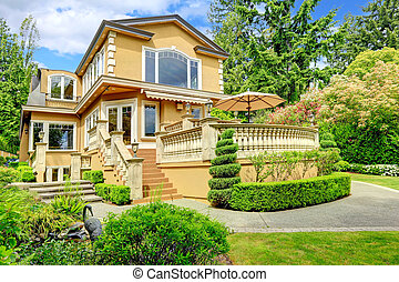 Luxury house exterior - Luxury house with walkout deck....