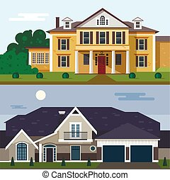 Luxury House Exterior Vector Illustration In Flat Style Design Home Facade And Yard