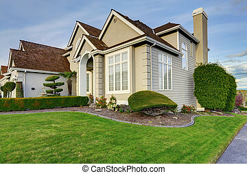 Luxury house exterior with curb appeal