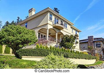 Luxury house exterior with landscape design