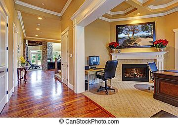 Luxury house interior. Hallway and office room