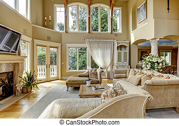 Luxury house interior. Living room - Impressive high ceiling...