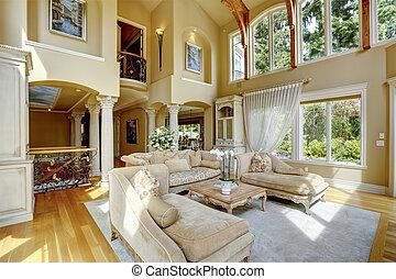 Luxury house interior. Living room - Impressive high ceiling...