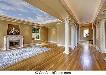 Luxury house interior. Living room with column
