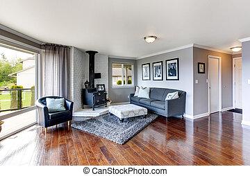 Luxury house interior. Room with antique stove - Elegant...