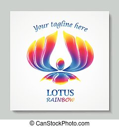 Luxury image logo Rainbow Lotus. Business design for spa, yoga class, hotel and resort. Vector illusration