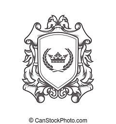 luxury imperial coat of arms template, laced heraldic shield with king crown, ancestral medieval crest or blazon,  vector