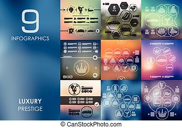 luxury infographic with unfocused background